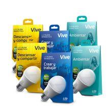 Kit x 6 Bombillos LED Vive Luz blanca de 9W y 11W y Luz cálida de 9W
