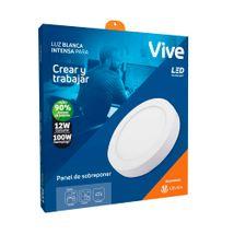 Panel LED Sobreponer Vive 12W Luz blanca