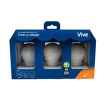 Kit x 3 Bombillos LED Vive Crear y trabajar 9W Luz blanca