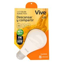 Bombillo LED Vive Descansar y Compartir 9W Luz Cálida