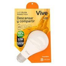 Bombillo LED Vive Descansar y Compartir 13W Luz Cálida