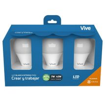 Kit x 3 Bombillos LED Vive Crear y trabajar 7W Luz blanca